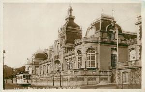 Le Havre France Sepia Real Photo Postcard~Le Casino Marie-Christine~Cable Car