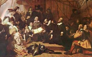 DC - Washington. Capitol Rotunda Painting, Embarkation of the Pilgrims