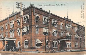Seneca Falls New York Hoag House Street View Antique Postcard K90607