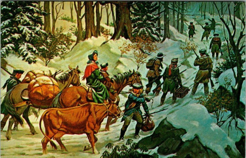 KENTUCKY ~ Emigrant Party Painting Wilderness Cumberland Gap Vintage Postcard