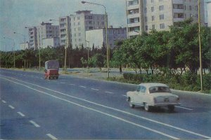 Postcard Azerbaijan BAKU Tbilisi highway