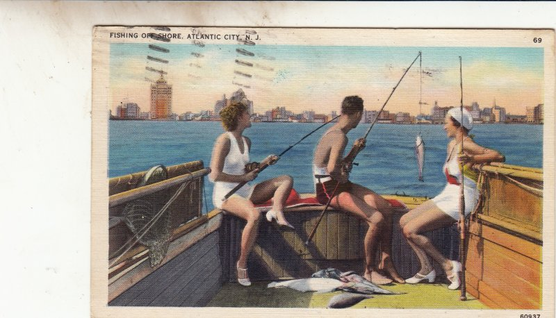 P1841 1937 pc fishing offshore boat atlantic city new jersey with people