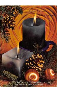Merry Christmas and Happy New Year  Gluckliches Neues Jahr Candles Globes