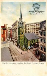 MA - Boston. Old South Church. Advertising Boston Rubber Shoe Company
