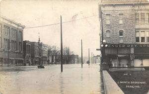 Peru IN Senger Dry Goods~North Broadway Street~School Books Sign~RPPC 1913 Flood