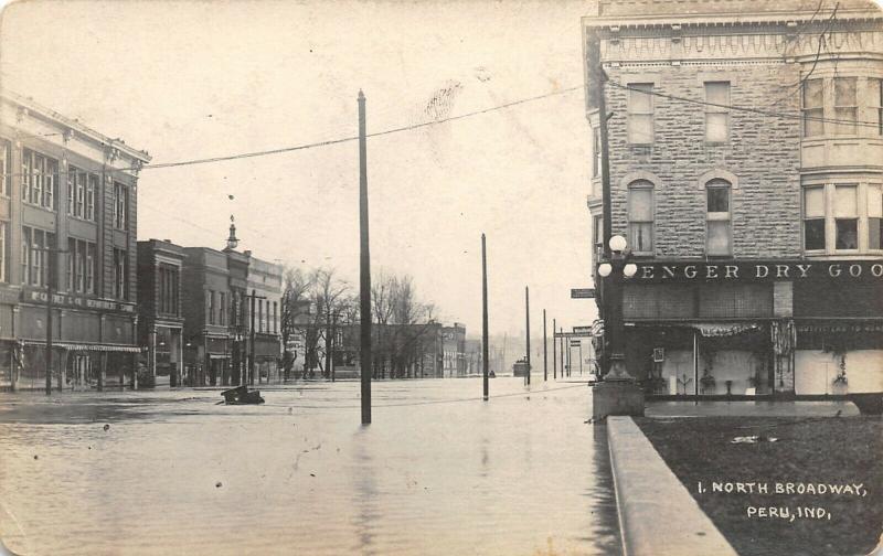 Peru IN Senger Dry Goods~North Broadway Street~School Books Sign~RPPC 1913 Flood
