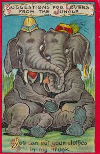 Couple of Elephants hugging, You can put your clothes in my trunk, PU-1909