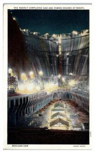 Mid-1930s Boulder Hoover Dam Construction at Night, NV Postcard