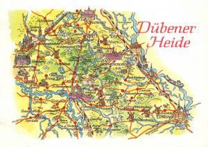 Vintage 1974 Dübener Heide & Surroundings Saxony-Anhalt Map Karte Postcard 71D