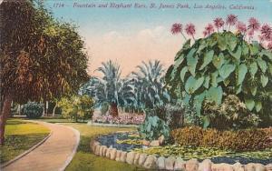 Fountain And Elephant Ears Saint James Park Los Angeles California