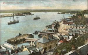 Queenstown Ireland Harbour Ships Bldgs c1910 Postcard