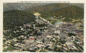 HOT SPRINGS National Park, Arkansas, 10-20s; View from Airplane at Heart of Park