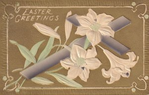EASTER, PU-1909; Greetings, Cross with white lilies, Gold background