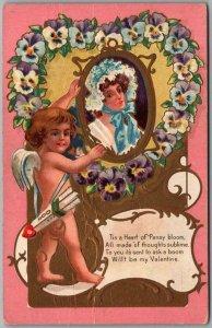 Vintage 1911 VALENTINE'S DAY Postcard Cupid / Pansy Flower Heart / Pretty Lady