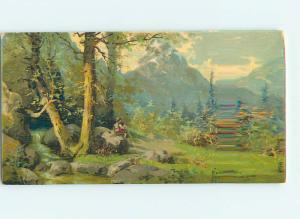 Pre-Linen signed KAMMERE - MAN SITS ON LARGE ROCK BY RIVERINE FOREST HJ4704