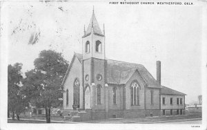 F91/ Weatherford Oklahoma Postcard 1934 First Methodist Church