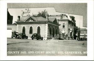 Vtg Postcard RPPC 1940s St. Genevieve Missouri MO St. Genevieve County Jail & CH