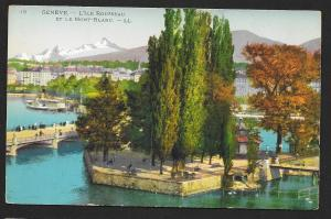 People on Bridge Geneva L'Ile Rousseau and Mont Blanc SWITZERLAND Unused c1910s
