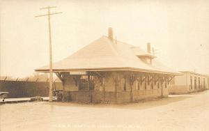Lisbon Falls ME Central Railroad Station Train Depot Otis Card RPPC Postcard