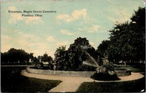 Findlay Ohio~Maple Grove Cemetery Fountain~Tombstones~1915 Postcard