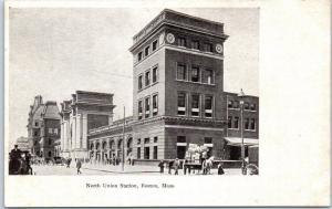Boston, MA Postcard North Union Station Railroad Depot Street View c1900s