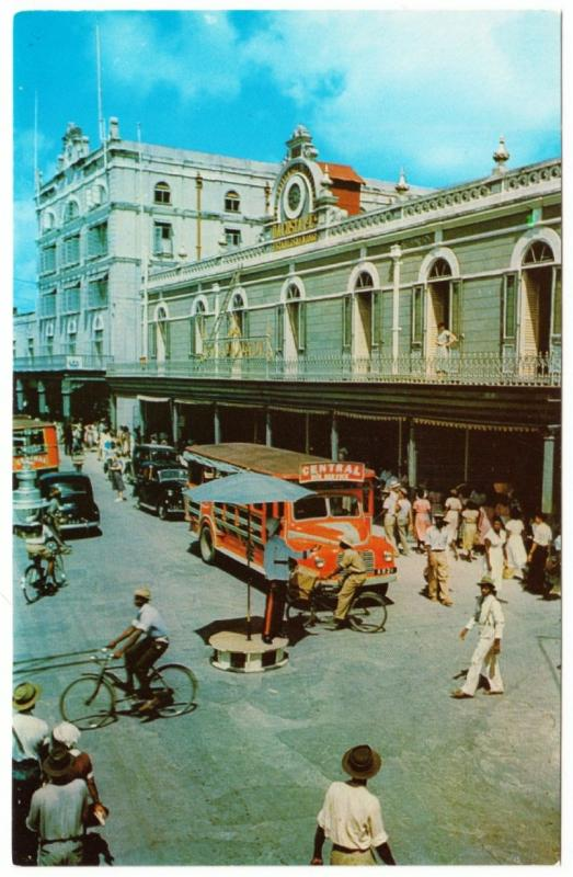 Barbados Bridgetown Broad Street Police and Bus Cars Bicycles 1950s Postcard