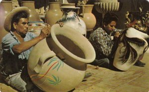 TLAQUEPAQUE, Jalisco, Mexico, 1974; Hand-painting pottery