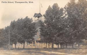 Thompsonville MI~Nice Open Belltower on Public School~Full Grown Trees~RPPC 1912
