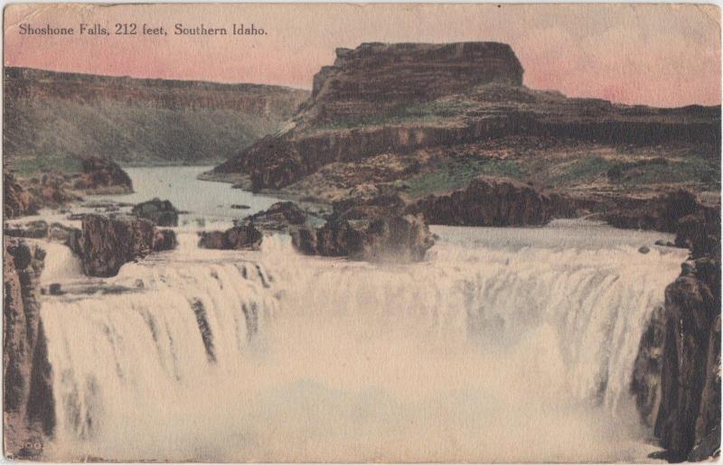 1915 SHOSHONE FALLS Idaho ID Postcard 212 Feet High SOUTHERN IDAHO Watefall