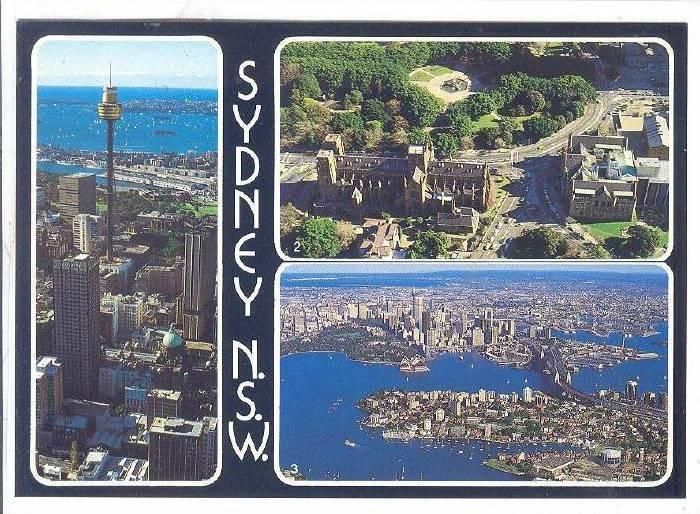 3-Views, Sydney Tower & Harbour, Queens Sq., Aerial View, Sydney, N. S. W., A...