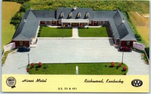 Richmond, Kentucky Postcard HINES MOTEL Aerial View Route 25 Roadside Linen