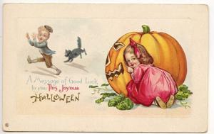 Halloween Hide n' Seek Children Pumpkin J.O.L. Embossed Postcard