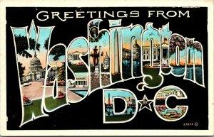 Vtg 1920s Greetings from Washington DC Large Letter Postcard