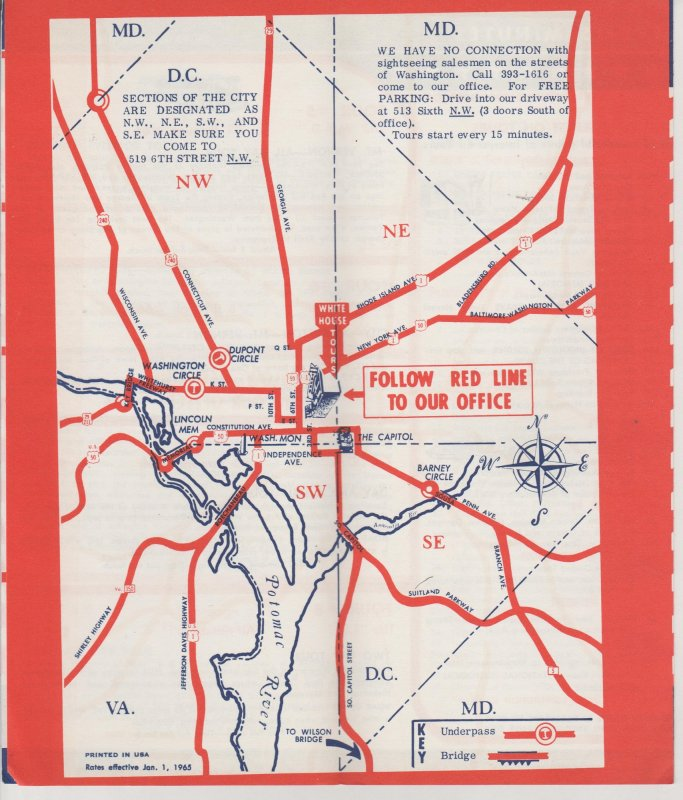 Washington DC Vintage Travel Brochure American Sightseeing Bus Tours 1965