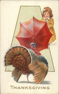 Thanksgiving - Little Girl Holds Off Turkey w/ Umbrella c1910 Postcard