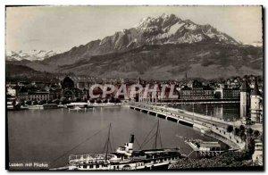 Modern Postcard Luzern mit Pilatus Boat