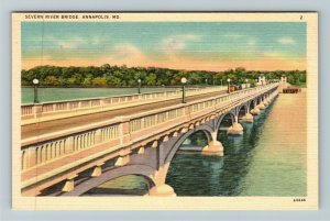 Annapolis MD-Maryland, Severn River Bridge, Linen Postcard