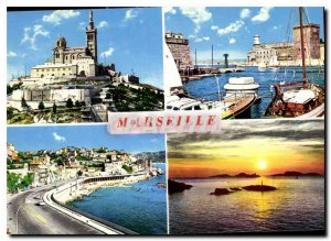 CARTE Postale Moderne Marseille Our Lady of the Guard Entree Harbor and Fort ...