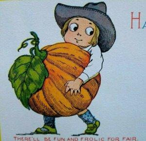 Gibson Halloween Postcard Farmer Boy & Pumpkin Original Unused Antique Vintage
