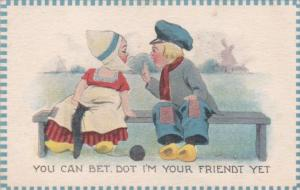 Dutch Boy & Girl Siting On Bench 1913 Signed Wall