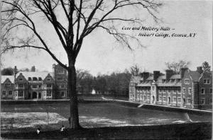 Coxe and Medbery Halls, Hobart College Geneva NY Vintage Postcard K12