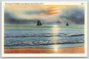 Long Beach Long Island New York~Sailing @ Twilight~Waves on Shore~1940s Linen PC