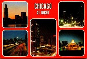 Illinois Chicago At Night Multi View