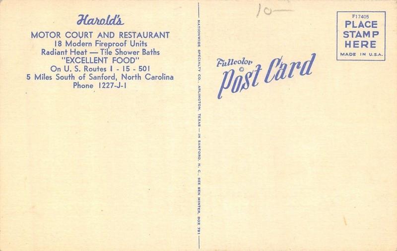 Sanford North Carolina~Harold's Motor Court Motel~Roadside Diner~1950 Linen PC