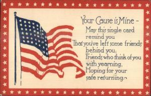 American Flag YOUR CAUSE IS MINE WWI Era Postcard