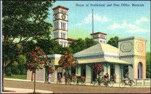 House of Parliament and Post Office Bermuda Linen Postcard