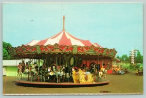 Wisconsin Dells Wisconsin~Familyland~Carousel with Children~Horses~Bench~1960s