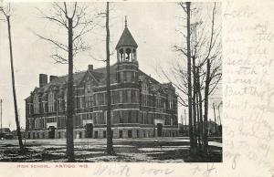 Antigo Wisconsin~High School~Neighboorhood Houses~1908 B&W Postcard