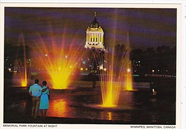 Canada Winnipeg Memorial Park Fountain At Night