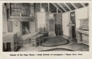 ROCKPORT, MA, 1920-30s; Pigeon Cove, Interior of Paper House, Made of Newspapers